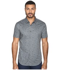 John Varvatos Slim Fit Sport Shirt With Cuffed Short Sleeves W444s4l Smoke Grey Men's Clothing Multi