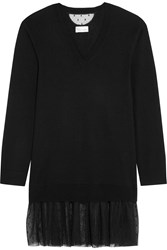 Red Valentino Point D'esprit Tulle Trimmed Cashmere Blend Tunic