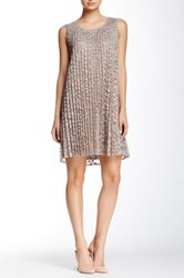 Max Studio Sleeveless Floral Lace A Line Dress Gray