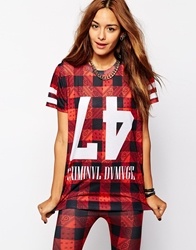 Criminal Damage Oversized T Shirt With Paisley Check Print Co Ord Red