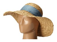 Betsey Johnson Sequin Floppy Hat With Freyed Denim Band Natural Caps Beige