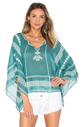 Star Mela Letti Embroidered Top Teal