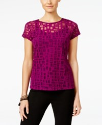 Inc International Concepts Short Sleeve Illusion Top Only At Macy's Purple Paradise