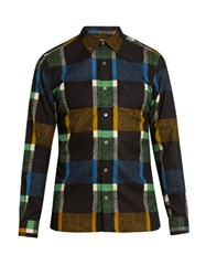 Burberry Checked Cotton Blend Shirt Blue Multi