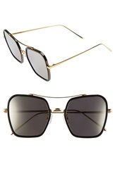 Gentle Monster 53Mm Retro Square Sunglasses Solid Black Dark Beige Mirror