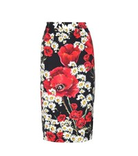 Dolce And Gabbana Floral Printed Silk Pencil Skirt Multicoloured