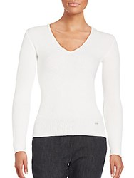 Akris Ribbed Pullover Sweater White