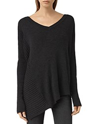 Allsaints Keld Merino Wool V Neck Sweater Cinder Black Marl