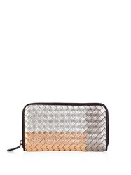 Bottega Veneta Intrecciato Metallic Leather Zip Around Wallet Rose Gold