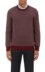Luciano Barbera Men's Cashmere Stockinette Stitched Sweater Burgundy