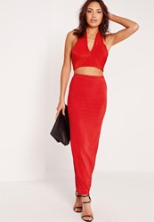 Missguided Ribbed Maxi Skirt Red Red