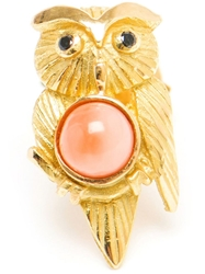 Yvonne Leon 18Kt Gold And Coral Owl Stud Earring Red