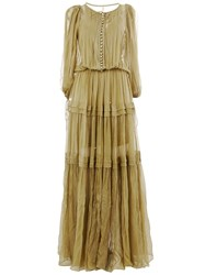 Maria Lucia Hohan Puff Sleeve Pleated Gown Green
