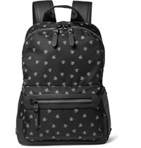 Lanvin Spider Print Leather Trimmed Twill Backpack Black