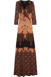 Etro Paisley Print Silk Jersey Maxi Dress Orange Brown