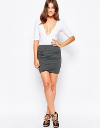Selected Ruched Mini Skirt Darkgrey