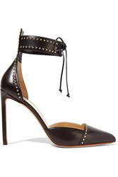 Francesco Russo Studded Leather Pumps Black