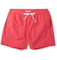Onia Charles Mid Length Cotton Blend Swim Shorts Red