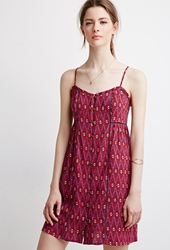 Forever 21 Tribal Print Cami Dress Bright Cobalt Red