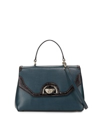 Class Roberto Cavalli Coco Medium Leather Satchel Bag Dark Green