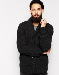 Barbour Cardigan With Cable Shawl Knit Grey