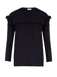 Red Valentino Ruffled Wool Felt Sweater Navy