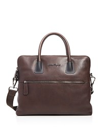 Salvatore Ferragamo Antiqued Icaro Briefcase Marrone