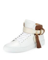 Buscemi 100Mm Tassel Leather High Top Sneaker White Brown