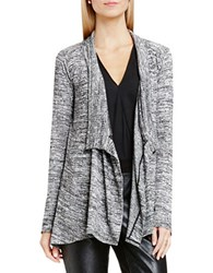 Vince Camuto Marled Drapey Rib Open Front Cardigan Dark Dove Heather