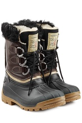 Dsquared2 Rubber Boots With Leather And Shearling Multicolor