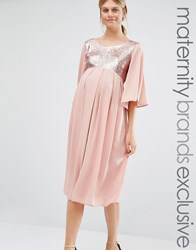 Queen Bee Sequin Maxi Dress With Fluted Sleeve Rose Pink