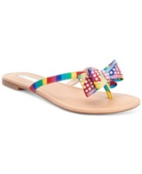 Inc International Concepts Malissa Rhinestone Bow Flat Sandals Women's Shoes Bright Multi