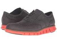 Cole Haan Zerogrand Wing Oxford Pavement Leather Spicy Orange Men's Lace Up Casual Shoes Black