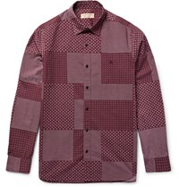Burberry London Slim Fit Patchwork Print Cotton Poplin Shirt Burgundy