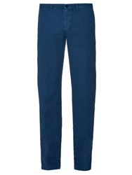 Massimo Alba Slim Leg Linen And Cotton Blend Trousers Blue