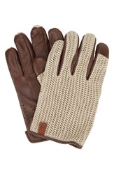 Ben Sherman Men's Original Penguin Knit And Leather Driving Gloves Champagne