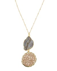 Panacea Double Drop Druzy Crystal Pendant Necklace Multi
