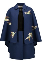 Valentino Cape Effect Embroidered Wool And Angora Blend Coat Royal Blue