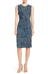 Nic Zoe Petite Women's 'Broken Pottery' Twist Front Sheath Dress Multi