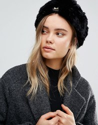 Ted Baker Mini Bow Detail Faux Fur Hat Black