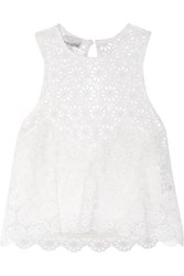 Miguelina Micha Crocheted Cotton Top White