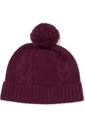 N.Peal Cashmere Pompom Embellished Cable Knit Cashmere Beanie Plum