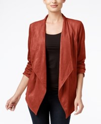 Jm Collection Open Front Draped Blouse Only At Macy's Rusty Red