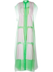 Delpozo Pleated Overlay Shirt Dress Green