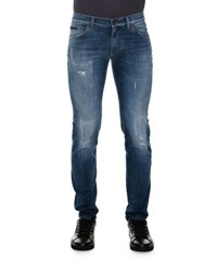 Dolce And Gabbana Distressed Denim Jeans With Embroidered Rose Blue