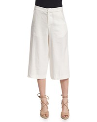 Alice Olivia Marlena Low Rise Linen Blend Gaucho Pants Cream