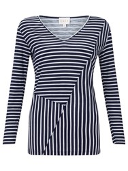 East Reverse Print Stripe Top Navy