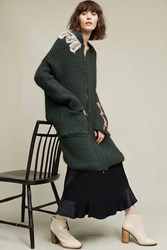 Anthropologie Embroidered Serpentine Sweater Coat Holly