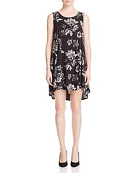 Karen Kane Maggie Floral Print High Low Dress Navy Off White