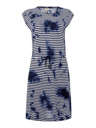 Linea Stripe Tie Dye Dress Navy And White